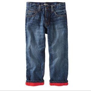 OSH KOSH Red Fleece Lined Denim Jeans Blue Boy 3T